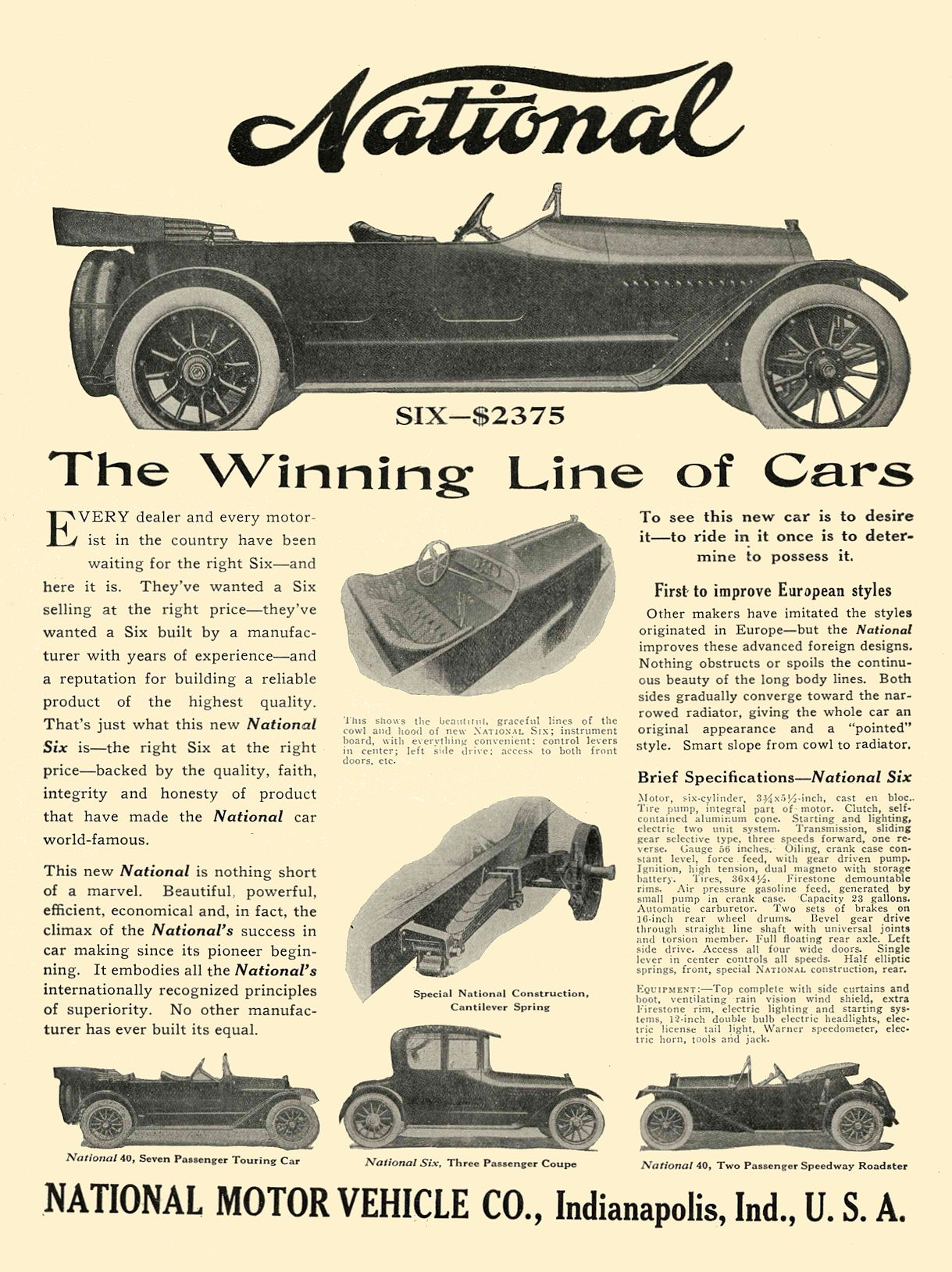 1914 2 25 NATIONAL The Winning Line of Cars NATIONAL MOTOR VEHICLE CO. Indianapolis, IND THE HORSELESS AGE February 25, 1914 8.5″x12″ Inside cover