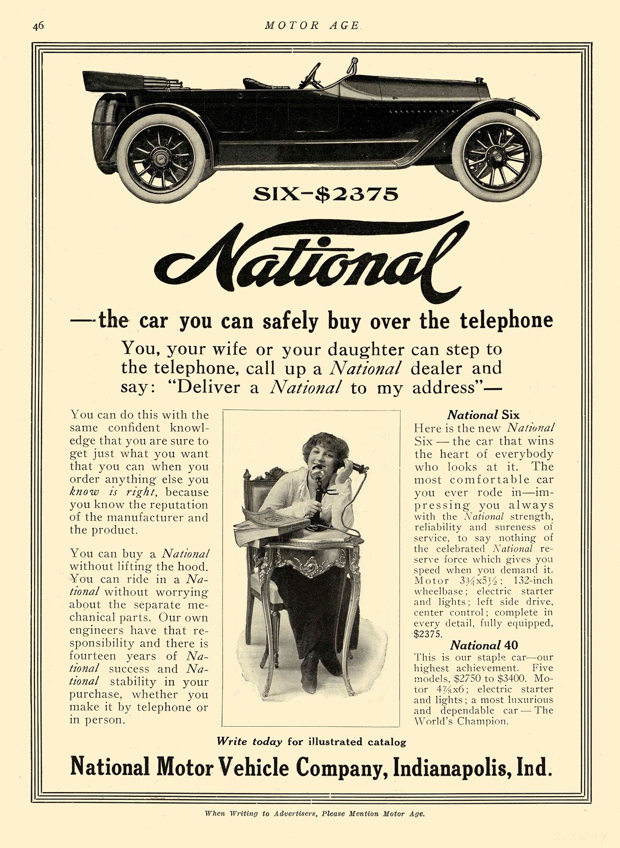1914 2 26 NATIONAL — the car you can buy over the telephone National Motor Vehicle Company Indianapolis, IND MOTOR AGE February 26, 1914 8.5″x12″ page 46