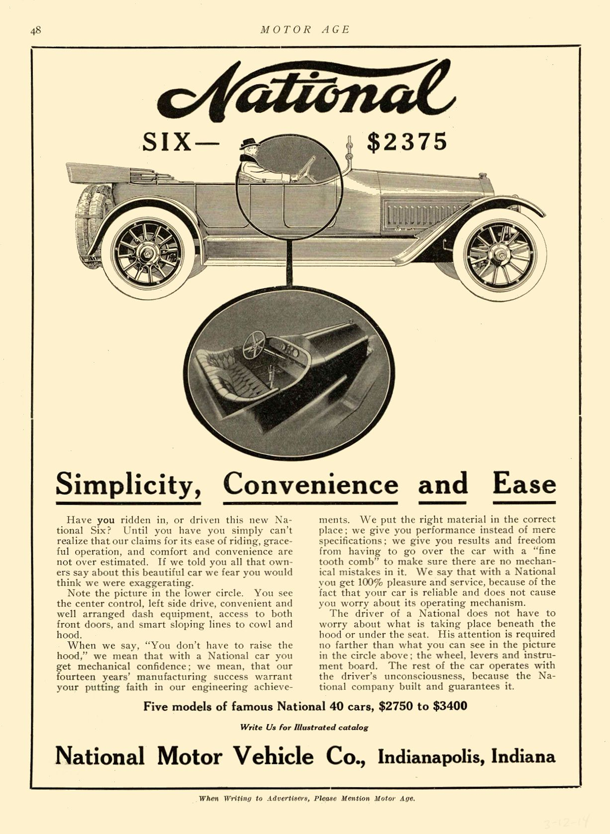 1914 3 12 NATIONAL Simplicity, Convenience and Ease National Motor Vehicle Co. Indianapolis, IND MOTOR AGE March 12, 1914 8.5″x12″ page 48