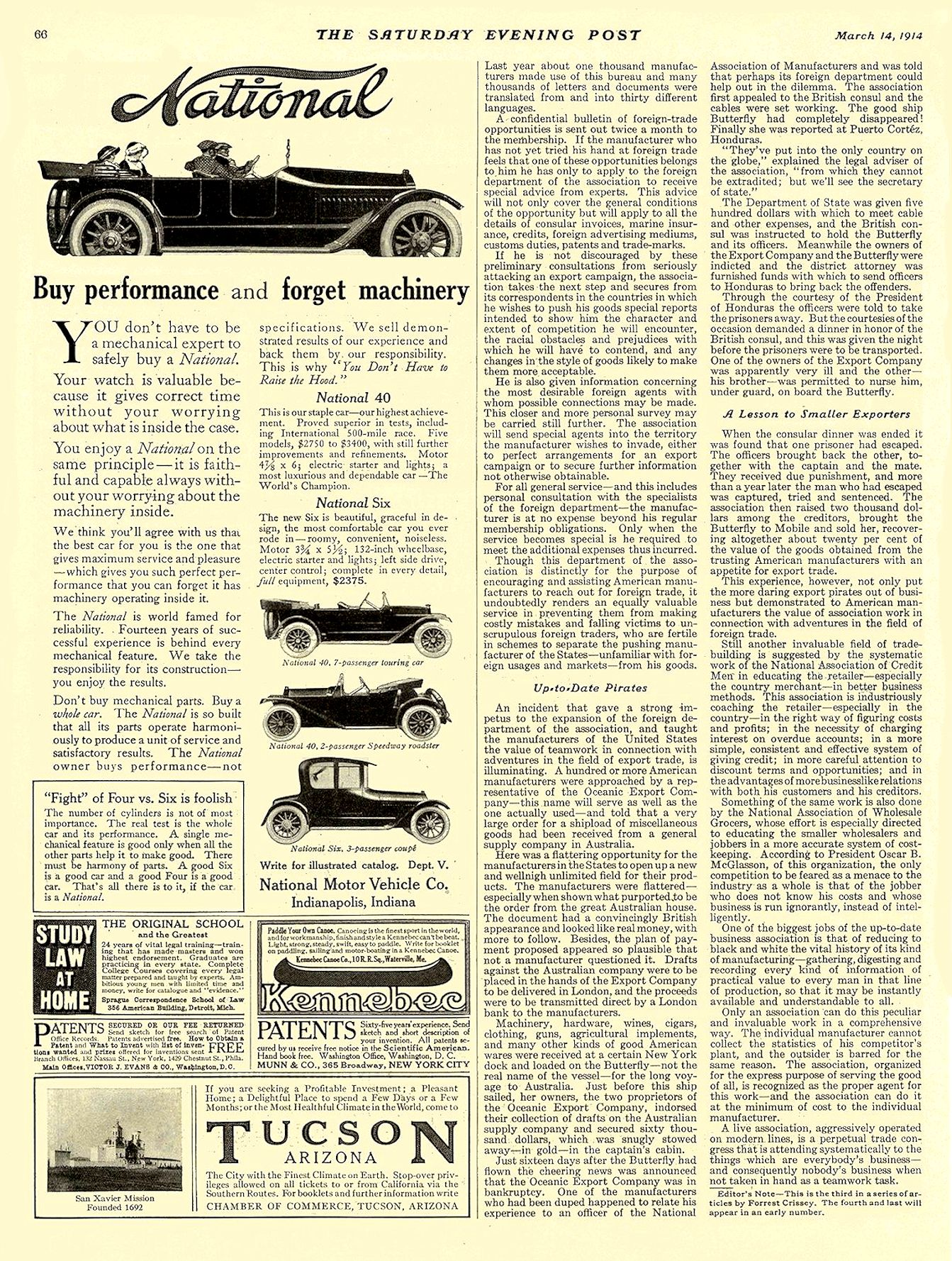 1914 3 14 NATIONAL Buy performance and forget machinery National Motor Vehicle Co. Indianapolis, IND THE SATURDAY EVENING POST March 14, 1914 10″x13.75″ page 66