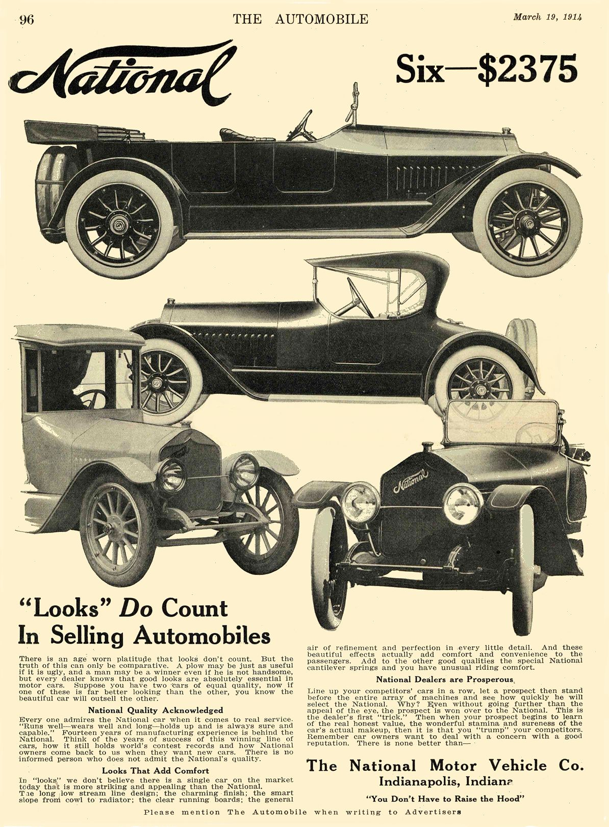 """1914 3 19 NATIONAL """"Looks"""" Do Count In Selling Automobiles National Motor Vehicle Co. Indianapolis, IND THE AUTOMOBILE March 19, 1914 7.75″x10.75″ page 96"""