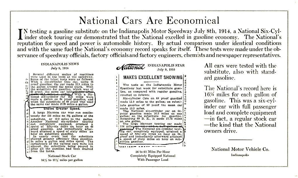 1914 NATIONAL 3 Page back 1914 How many miles per gallon? National Cars Are Economical National Motor Vehicle Co. Indianapolis, IND 3.5″x6.25″ x3 folded mail? back