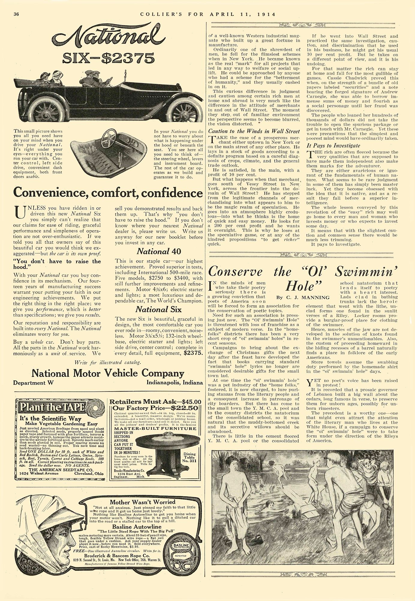 1914 4 11 NATIONAL Convenience, comfort, confidence National Motor Vehicle Co. Indianapolis, IND COLLIER'S April 11, 1914 10″x14.75″ page 36