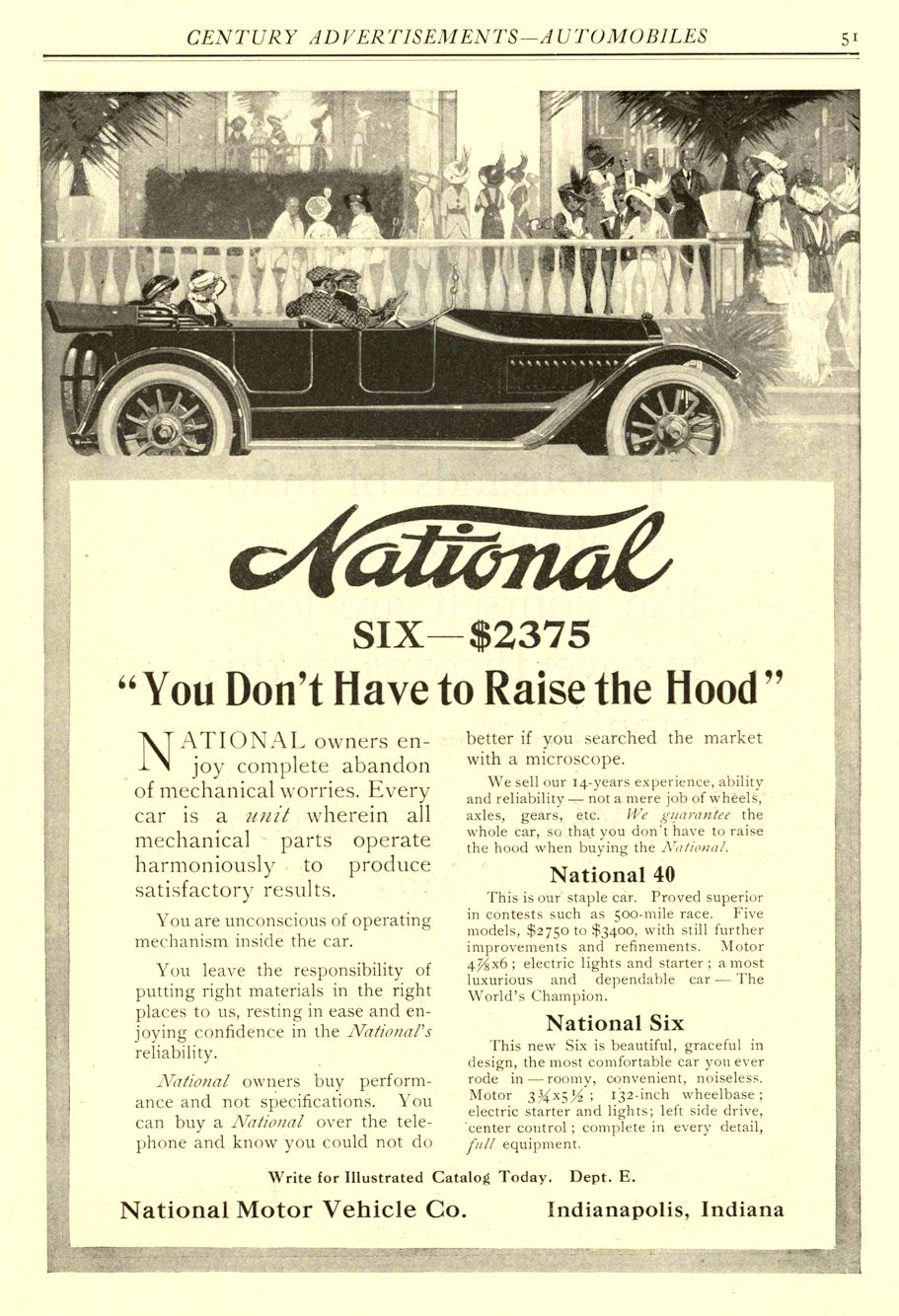 """1914 4 NATIONAL """"You Don't Have to Raise the Hood"""" National Motor Vehicle Co. Indianapolis, IND Century Advertisements—Automobiles April 1914 6.5″x9.75″ page 51"""
