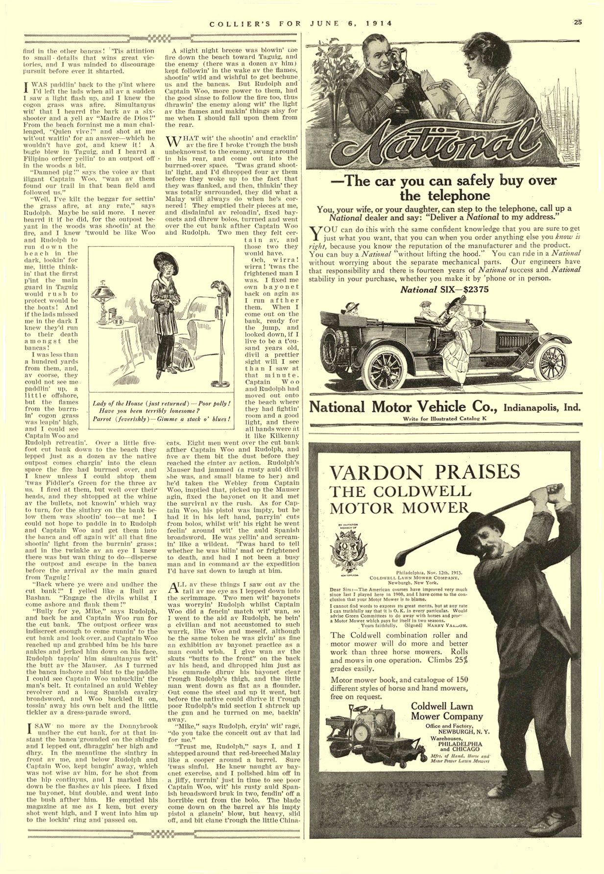 1914 6 6 NATIONAL — the car you can safely buy over the telephone National Motor Vehicle Co. Indianapolis, IND COLLIER'S June 6, 1914 10″x14.75″ page 25