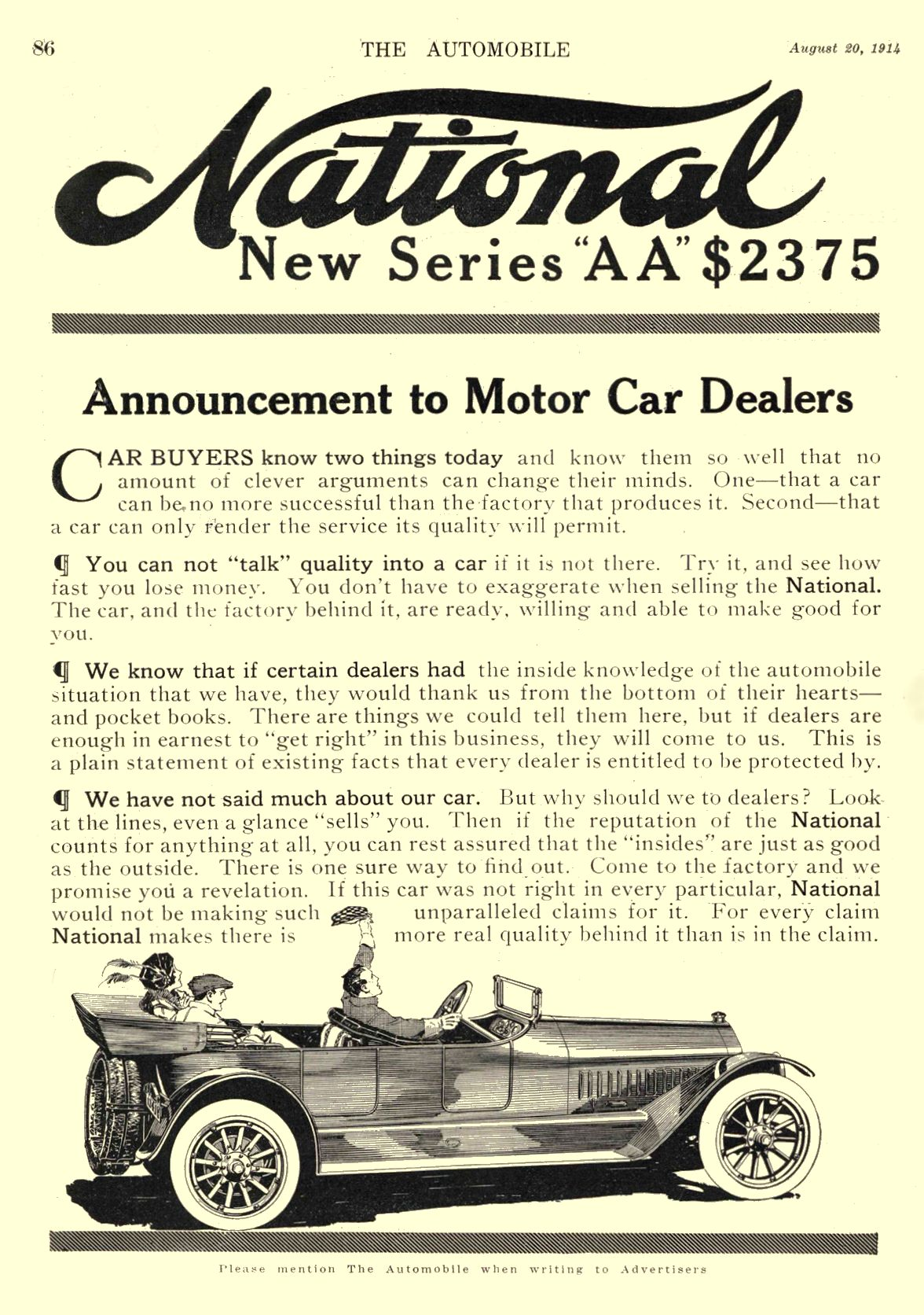 """1914 8 20 NATIONAL New Series """"AA"""" $2375 Announcement to Motor Car Dealers National Motor Vehicle Co. Indianapolis, IND THE AUTOMOBILE August 20, 1914 8.5″x12″ page 86"""