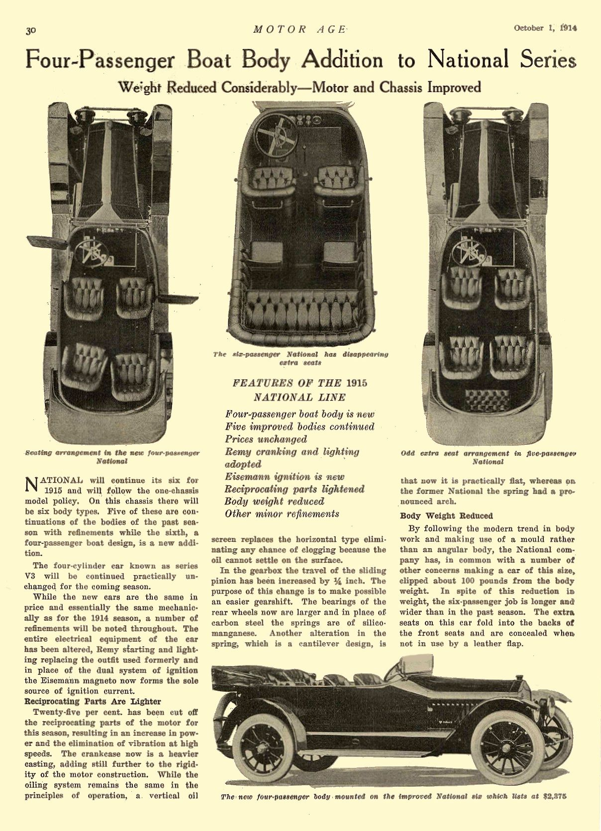 1914 10 1 1915 NATIONAL Article Four-Passenger Boat Body Addition to National Series National Motor Vehicle Co. Indianapolis, IND MOTOR AGE October 1, 1914 8.5″x12″ page 30