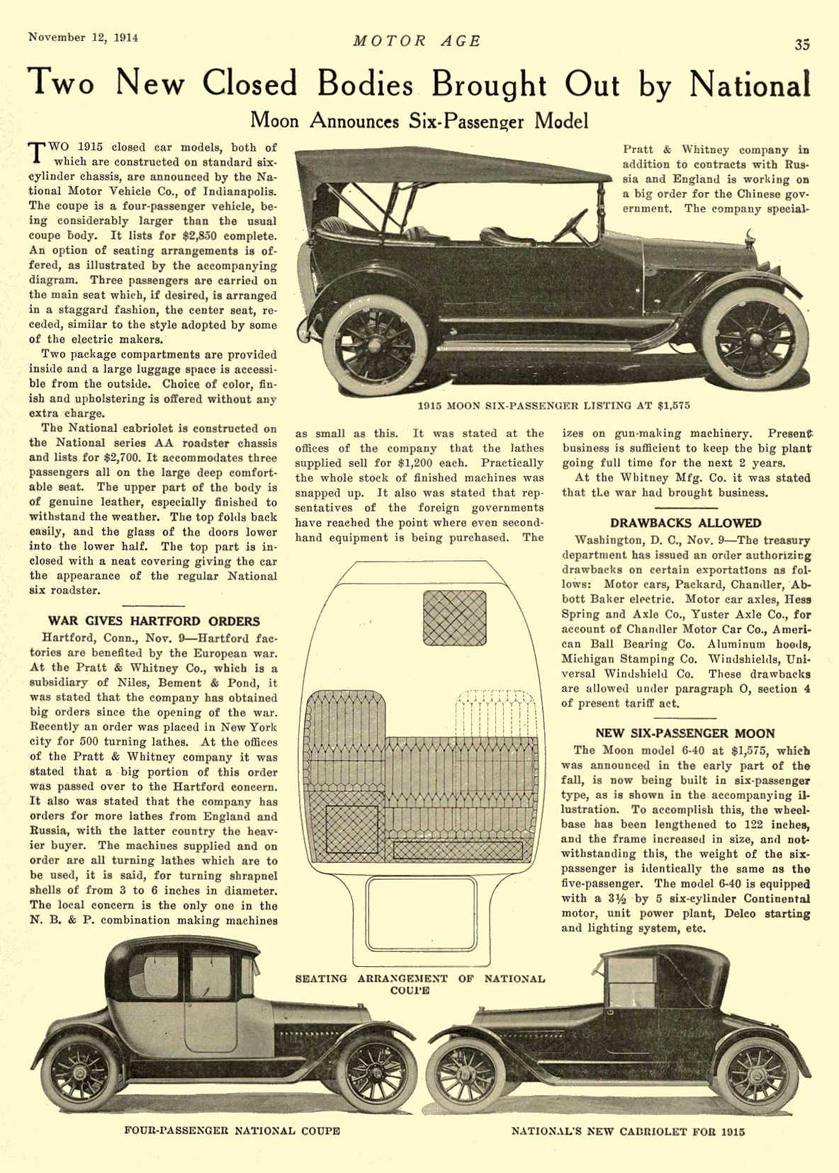 1914 11 12 1915 NATIONAL Article Two New Closed Bod1ies Brought Out by National National Motor Vehicle Co. Indianapolis, IND MOTOR AGE November 12, 1914 8.5″x12″ page 35