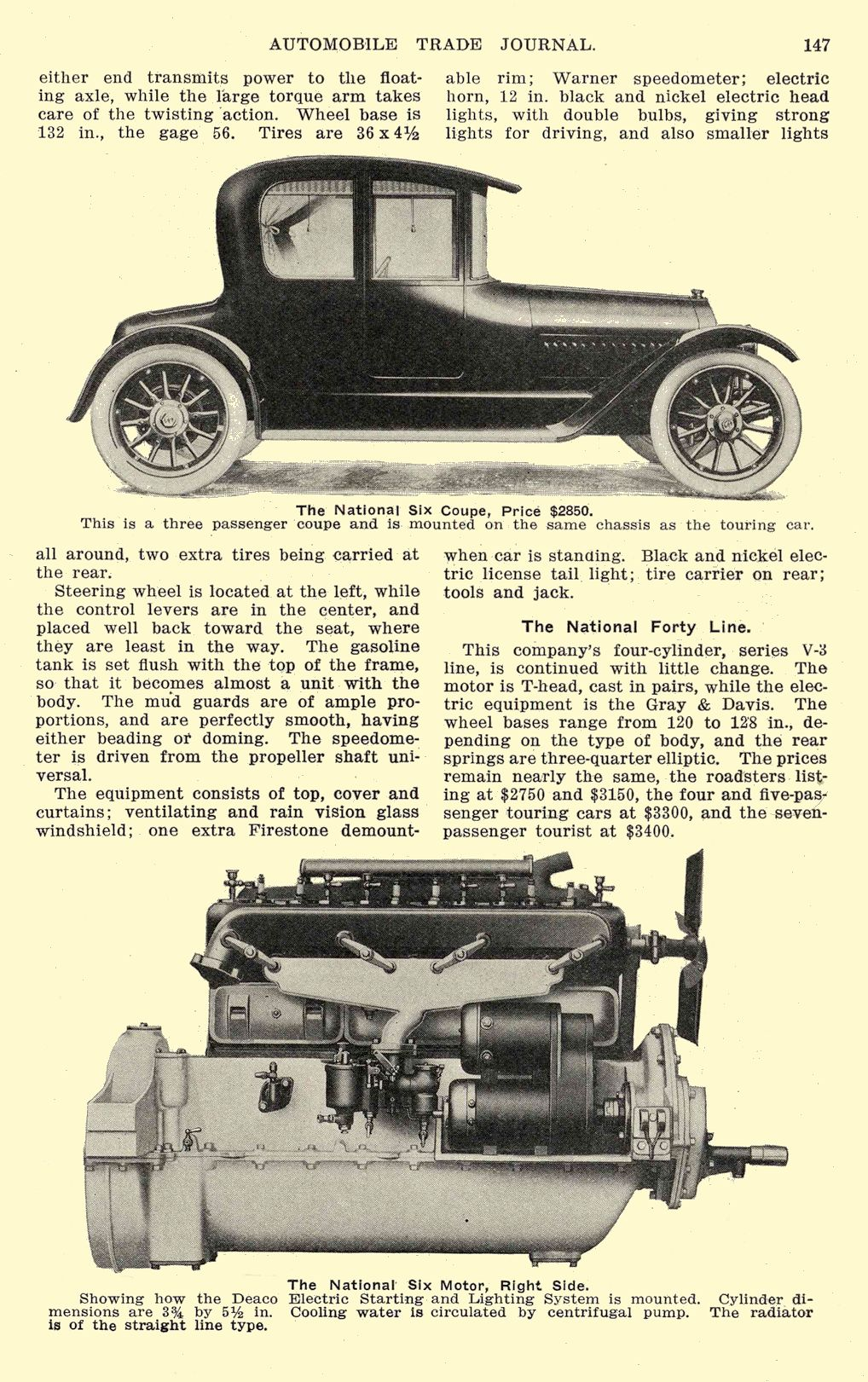1914 NATIONAL Article National Six – At a Popular Price National Motor Vehicle Company Indianapolis, IND AUTOMOBILE TRADE JOURNAL 1914 6.5″x9.75″ page 147