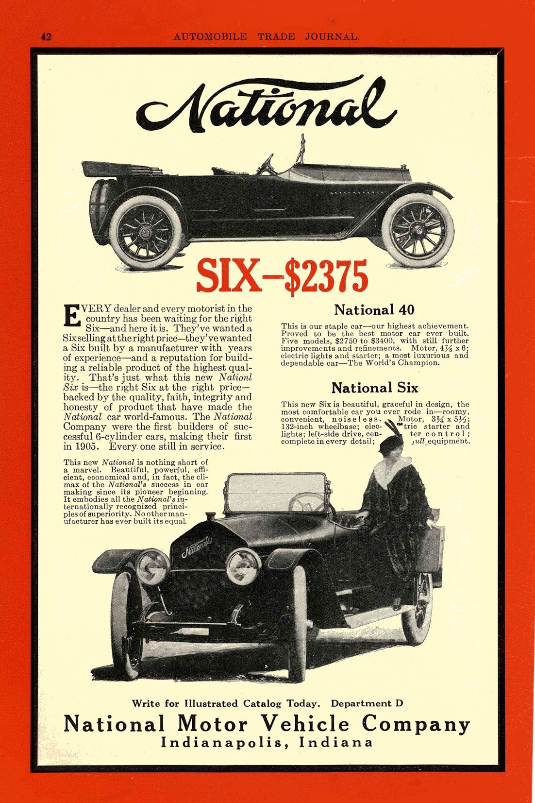 1914 NATIONAL National SIX — $2375 National Motor Vehicle Company Indianapolis, IND AUTOMOBILE TRADE JOURNAL 1914 6.5″x10″ page 42
