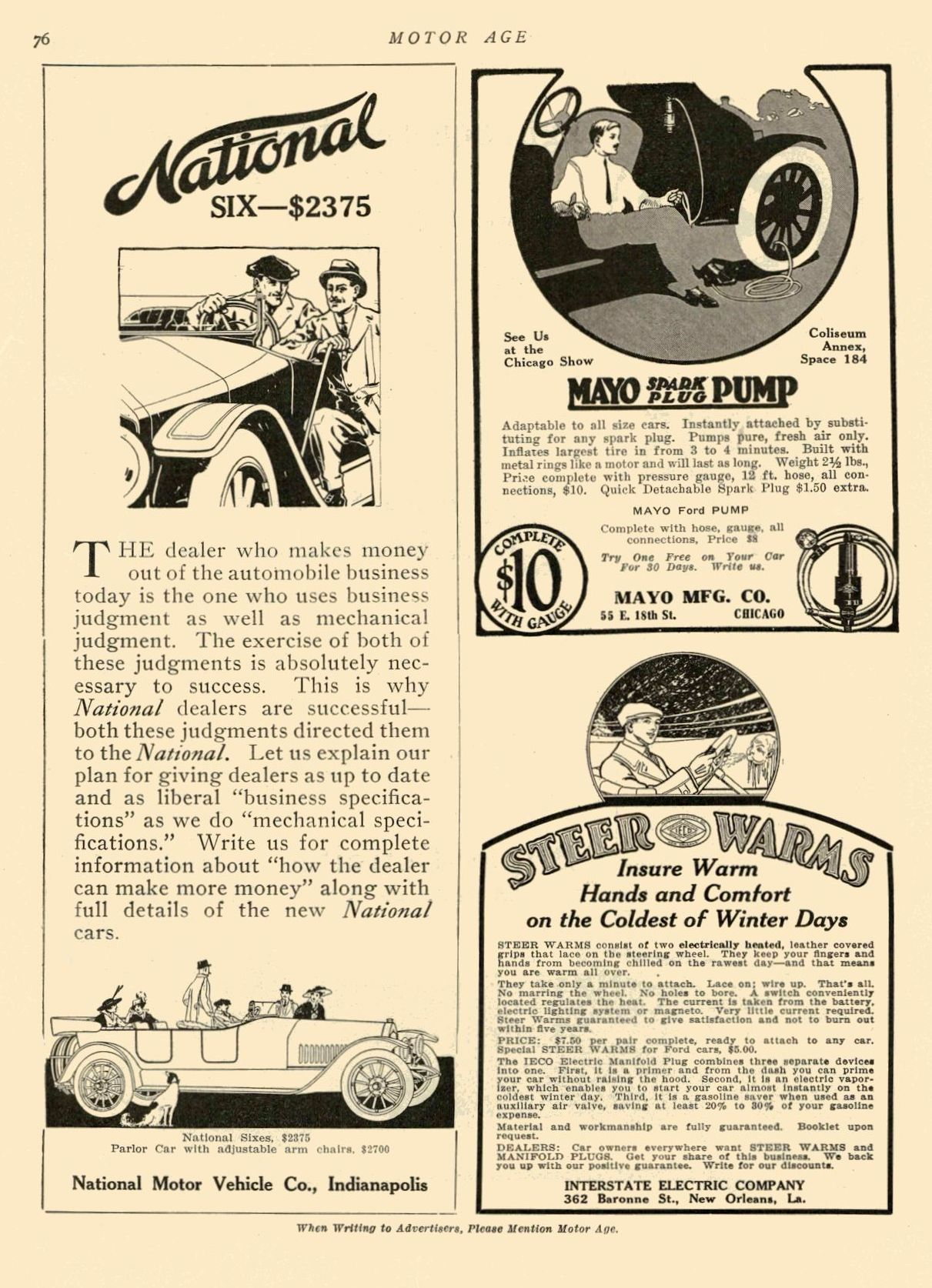 """ca. 1914 NATIONAL National """"SIX"""" $2375 National Motor Vehicle Co. Indianapolis, IND MOTOR AGE ca. 1914 8.5″x12″ page 76"""