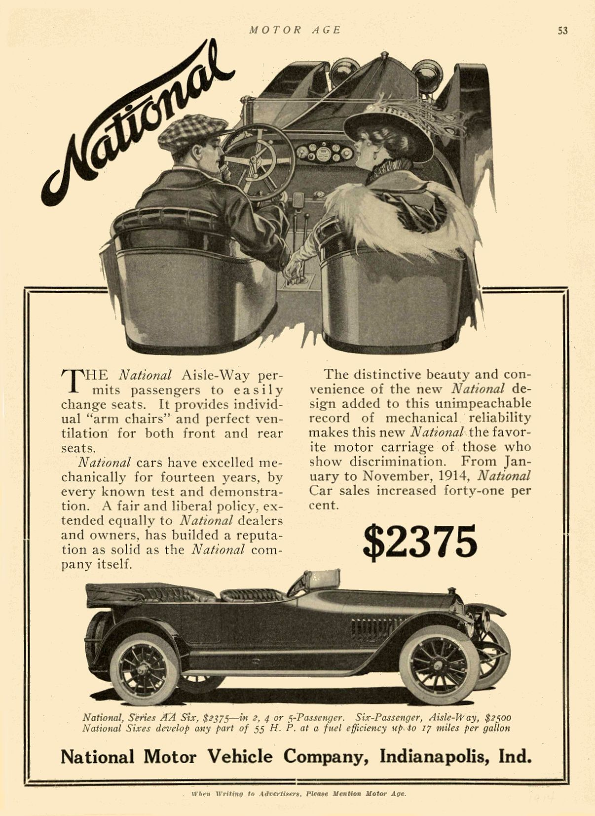1914 NATIONAL National $2375 National Motor Vehicle Company Indianapolis, IND MOTOR AGE 1914 8″x11″ page 53