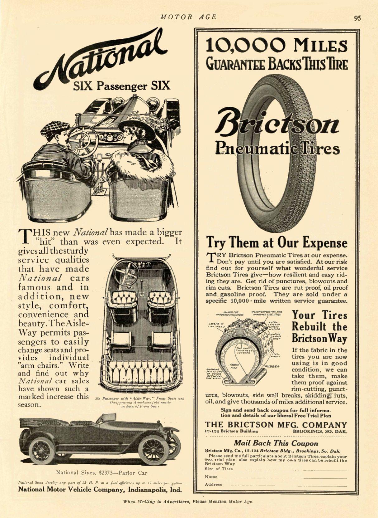 1914 NATIONAL National SIX Passenger SIX National Motor Vehicle Company Indianapolis, IND MOTOR AGE 1914 8.25″x11.75″ page 95