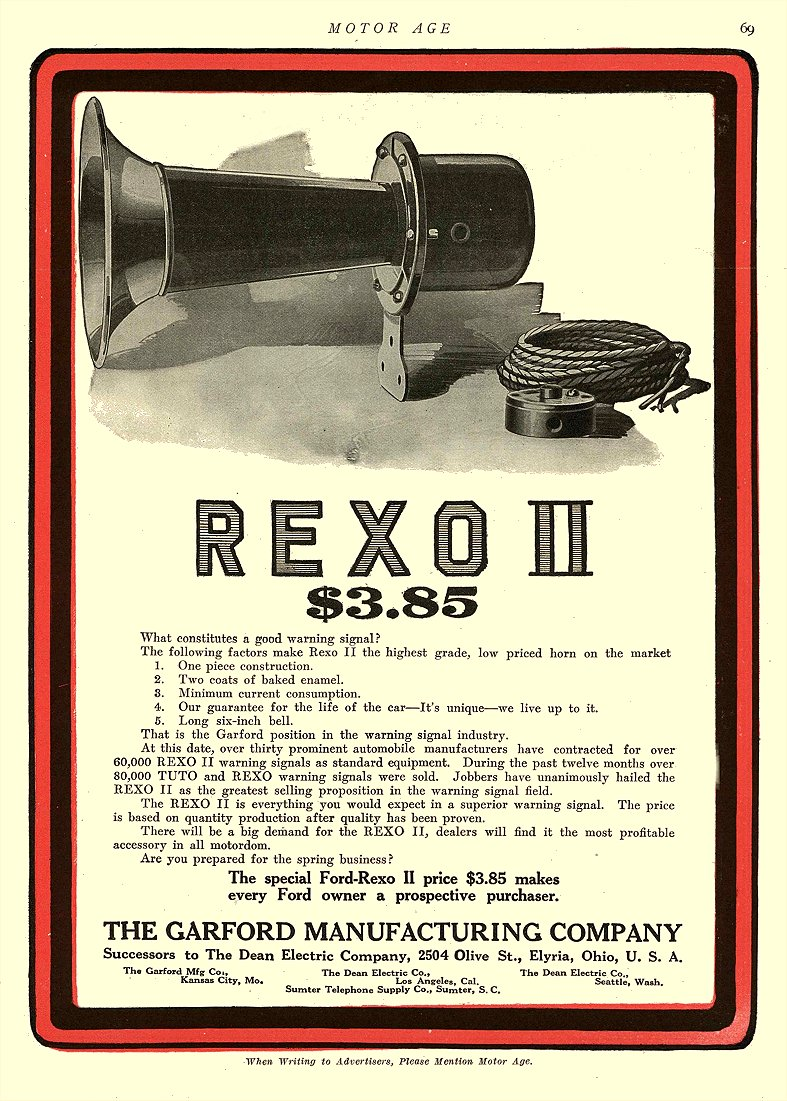 1914 5 21 REXO II $3.85 Horn The Garford Manufacturing Company Elyria, OHIO MOTOR AGE May 21, 1914 8.5″x11.75″ page 69