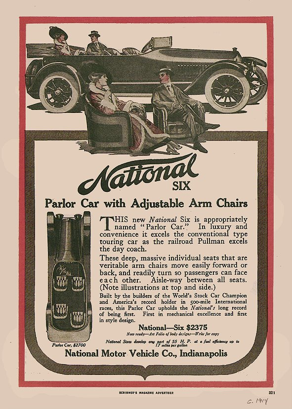 1914 NATIONAL Six Parlor Car SCRIBNER'S MAGAZINE ADVERTISER 6.5″x9.75″ page 32i