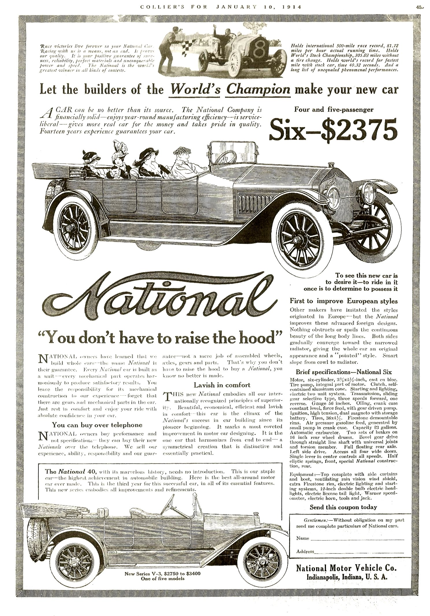 """1914 1 10 NATIONAL National Six-$2375 """"You don't have to raise the hood"""" COLLIER'S for January 10, 1914 xerox 10″x14″"""