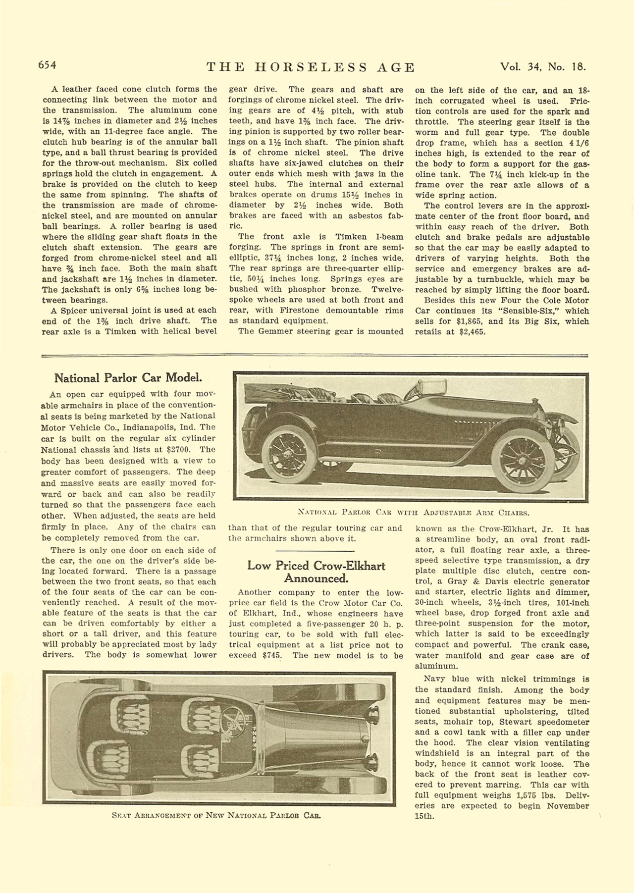 1914 10 28 NATIONAL National Parlor Car Model (article) THE HORSELESS AGE October 28, 1914 Vol. 34 No. 18 9″x12″ page 654