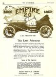"1910 2 10 EMPIRE $800 EMPIRE ""20"" $850 This Little Aristocrat $800 in 1910 = $16,424 in 2005 EMPIRE MOTOR CAR COMPANY Indianapolis, Indiana The AUTOMOBILE Feb 10, 1910 6.75″x8.5″ page 126"