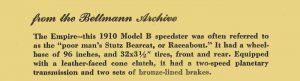 "Description: 1910 Empire Model B Speedster The ""poor man's Stutz Bearcat"" 5″x1.5″ on back of 8″x10″ photo"