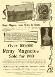 1910 3 30 REMY Over 100,00 Remy Magnetos Sold for 1910 Remy Electric Company Anderson, Indiana THE HORSELESS AGE March 30, 1910 Vol. 25 No. 13 9″x12″ page 14