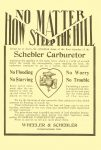 1910 4 13 SCHEBLER NO MATTER HOW STEEP THE HILL Schebler Carburetor Wheeler-Schebler Indianapolis, Indiana THE HORSELESS AGE April 13, 1910 Vol. 25 No. 15 9″x12″ Back