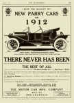 1912 8 17 PARRY NEW PARRY CARS FRONT – DOOR ROADSTER $1350 The Motor Car Mfg. Co. Indianapolis, Indiana THE AUTOMOBILE Vol. 25 No. 7 August 17, 1911 9″x12″ page 169