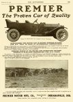 "1911 9 28 PREMIER ""The Proven Car of Quality"" Premier Motor Mfg. Company Indianapolis, IndianaTHE AUTOMOBILE Vol. 25 No. 13 September 28, 1911 9″x12″ page 125"