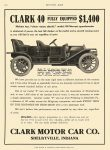 1911 8 17 CLARK 40 $1,400 Clark Motor Car Co Shelbyville, IND MOTOR AGE August 17, 1911 8.5″x11.75″ page 120