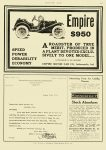 1911 9 7 EMPIRE SPEED POWER DURABILITY ECONOMY $950 $950 in 1911 = $23,058 in 2012 Empire Automobile Co Indianapolis, Indiana MOTOR AGE September 7, 1911 8.5″x12″ page 101