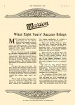 1912 7 10 MARION Marion What Eight Years' Success Brings to Marion Motor Car Company Indianapolis, Indiana THE HORSELESS AGE Vol. 30, No. 2 July 10, 1912 9″x12″ page 8