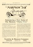 """1912 7 10 MARMON Marmon """"32"""" Announcing a New Series of the Marmon """"Thirty-Two"""" Nordyke & Marmon Company Indianapolis, Indiana THE HORSELESS AGE Vol. 30, No. 2 July 10, 1912 9″x12″ page 13"""