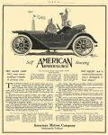 """1912 AMERICAN UNDERSLUNG Self Starting, AMERICAN MOTOR CAR COMPANY, INDIANAPOLIS, IND The """"AMERICAN SCOUT"""" (Type 22A) Fully Equipped $1475 The """"AMERICAN TRAVELER"""" (Type 56A) Fully Equipped $4500 The """"AMERICAN TOURIST"""" (Type 34A) Fully Equipped $2350 NOT SILENT – but """"a sound so faint one can scarce distinguish it from silence"""" LIFE 1912 Page 243 8.25″x1.5″"""