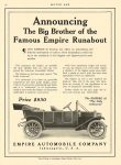"1912 3 4 EMPIRE 25 ""The Little Aristcrat"" $850 in 1912 = $19,914 in 2012 Empire Automobile Co Indianapolis, Indiana MOTOR AGE March 4, 1912 8.5″x12″ page 54"