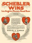1914 3 4 SCHEBLER SCHEBLER WINS Los Angeles-Phoenix Road Race WHEELER & SCHEBLER Indianapolis, Indiana MOTOR AGE March 4, 1912 8.5″x12″ page 42