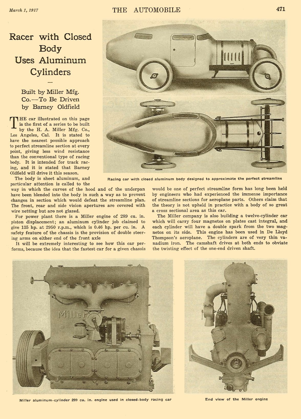 1917 3 1 Racer with Closed Body Uses Aluminum Cylinders THE AUTOMOBILE Vol. 36 No. 9 March 1, 1917 9″x12″ page 471
