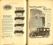 1918 EMPIRE Value Measured By War-Time Efficiency EMPIRE est. 1908 EMPIRE MOTOR CAR COMPANY Indianapolis, Indiana Floyd Clymer's Historical Motor SCRAPBOOK Number 6 1950 THE SATURDAY EVENING POST 5.5″x8.5″ page 150