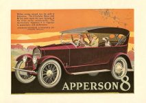 1919 APPERSON 8 APPERSON BROTHERS AUTOMOBILE CO. KOKOMO, INDIANA Color Magazine 6.5″x9.5″