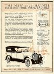 1920 8 14 HAYNES THE NEW 1920 HAYNES POSSESSES FOUR VITAL FACTORS Haynes Automobile Company Kokomo, Indiana MOTOR AGE Aug 14, 1919 8.5″x11.5″ page 97