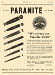 "1924 7 24 PARANITE ""We always use Paranite Cable"" Indiana Rubber & Insulated Wire Co Jonesboro, Indiana MOTOR AGE July 24, 1924 8″x11″ page 82"