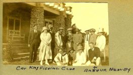 1905 ca. Cat Key Fishing Club ca. 1905 Arthur C. Newby in Florida One of the primary National founders Test Family snapshot ca. 1905 5″x3″