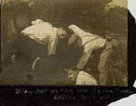 """1906 ca. Test Family snapshot """"Blow Out on the way to the Farm Skiles, Don & I"""" 3.25″x2.25″"""