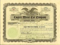 1909 5 1 (Compare to National Motor stock certificate) (23) Shares Number 18 Empire Motor Car Company (1908-19) Indianapolis, Indiana Dated: May 1, 1909 11″x8.25″ front