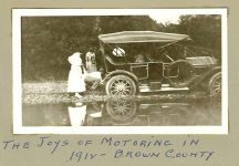 """1912 ca. """"The Joys of Motoring in 1912 – Brown County"""" (Indiana) Test Family snapshot 4.5″x2.5″"""