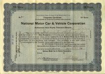 1916 10 27 (100) Shares Temporary Certificate (Blue) No. T 7 National Motor Car & Vehicle Corporation Dated: Oct 27, 1916 10.75″x7.75″