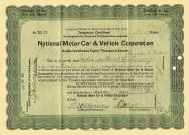 1916 10 27 (41) Shares Temporary Certificate (Green) No. TO 21 National Motor Car & Vehicle Corporation Dated: Oct 27, 1916 10.75″x7.75″