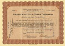 1916 10 27 (500) Shares Temporary Certificate (Red) No. TX 32 National Motor Car & Vehicle Corporation Dated: Oct 27, 1916 10.75″x7.75″