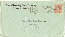 1919 6 16 NATIONAL envelope National Motor Car  Vehicle Corporation Postmarked June 16, 1919 Indianapolis, IND Front  6.5″x3.5″