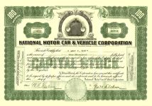1919 9 15 (100) Shares (Green) Number 453 National Motor Car & Vehicle Corporation Dated: Sep 15, 1919 11.75″x8.25″