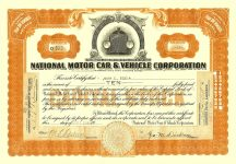 1919 9 15 (10) Shares (Orange) Number O 523 National Motor Car & Vehicle Corporation Dated: Sep 15, 1919 11.75″x8.25″