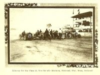 "1910 9 8 NATIONAL Sept. 5, 1910 ""Line-up for the Class D, Free-for-all"" Event 7 – 10-mile Race Free-for-all (6 cars racing) Place 4 Car 7 Driver Charlie Merz National Place 6 Car 8 Driver Johnny Aitken National Photo: THE AUTOMOBILE September 8, 1910 page 386"